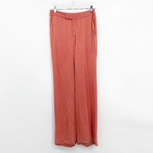 Awaveawake Coral 100% Silk Pants Wide Leg